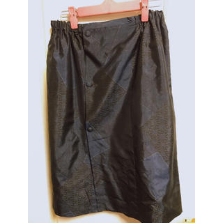 着物リメイク 大島紬 道行リメイク タイトスカート(ひざ丈スカート)