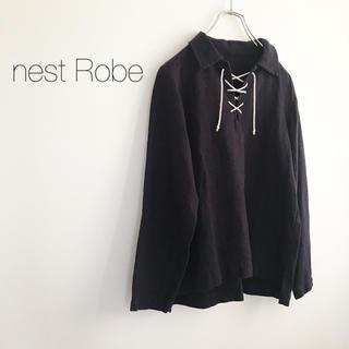 nest Robe - ★ネストローブ★レースアップリネンシャツ ネイビー