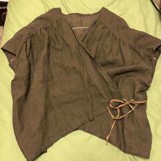 ネストローブ(nest Robe)のハンドメイド 作家様 リネン カシュクールブラウス ベスト(シャツ/ブラウス(半袖/袖なし))