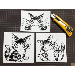 猫ステッカー3枚セット(しおり/ステッカー)