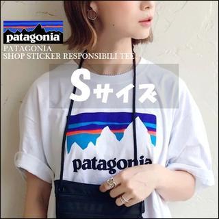 patagonia - 入手困難☆Sサイズ☆パタゴニア ショップ ステッカー 白 Tシャツ