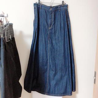 GU - デニムフレアマキシスカート XL