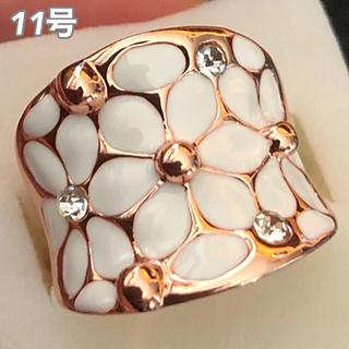 【SWAROVSKI】『花神の白花』指輪 クリスタルリング フラワー お花(リング(指輪))
