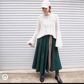 アウラアイラ(AULA AILA)の☆新品未使用☆ AULA AILA タックロングスカート/グリーン S(ロングスカート)