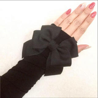 ⭐️リボン黒 UVアームカバー90cm フィットタイプ 紫外線日焼け対策 美白