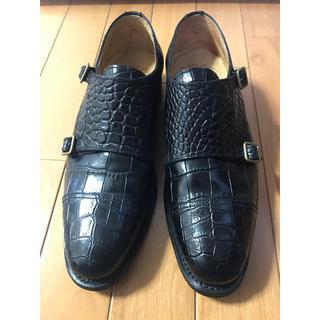 ホーキンス(HAWKINS)のクロコダイル ダブルモンクストラップシューズ(6)24.5cm25cmブラック黒(ドレス/ビジネス)