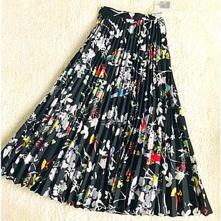 ルシェルブルー(LE CIEL BLEU)の定価34560円 ANNUJ鳥柄プリントプリーツスカート(ロングスカート)