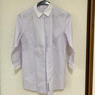 アオヤマ(青山)の洋服の青山 七分袖シャツ オフィスカジュアル スーツ 紫(シャツ/ブラウス(長袖/七分))