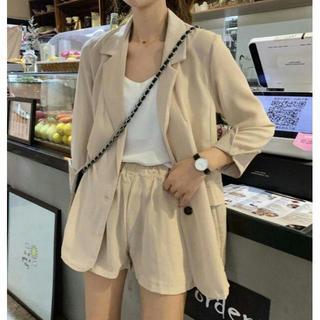 韓国 ファッション レディース セットアップ ジャケット パンツ ウエストゴム