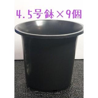 ◎9個◎ 4.5号 / 4.5寸 / 12.5cm 丸鉢 プラ鉢 黒 ブラック(その他)