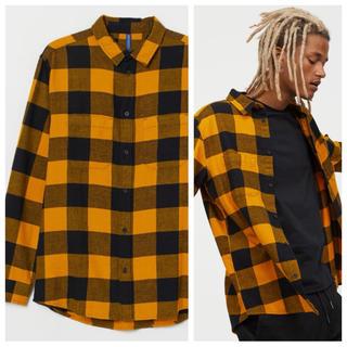 エイチアンドエム(H&M)の新作&新品 H&M フランネルシャツ イエロー Lサイズ(シャツ)