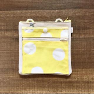 移動ポケット❼生成り帆布/yellowドット(外出用品)