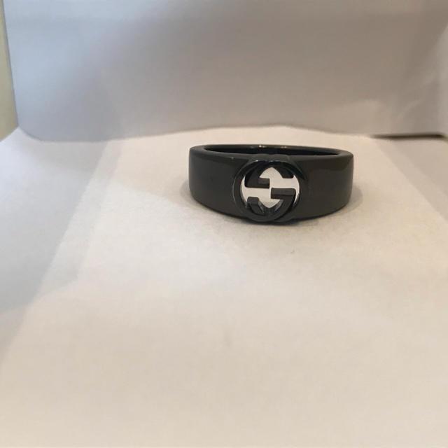 Gucci - GUCCI ring 指輪 正規 メンズ ブラック16号 GGロゴ一度のみ使用 の通販