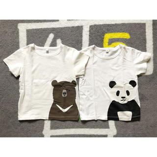 MUJI (無印良品) - 無印良品 キッズ 子供 アニマル 半袖Tシャツ 100cm