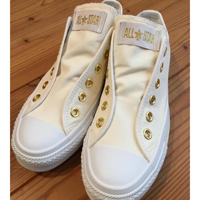 CONVERSE(コンバース)の1度着用のみ☆コンバース オールスター スリッポン ホワイトゴールド 23.5 レディースの靴/シューズ(スニーカー)の商品写真