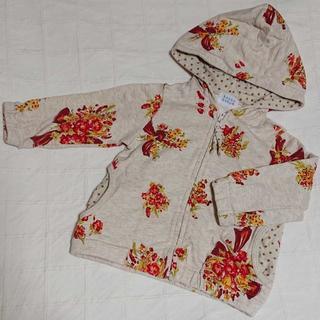 ハッカベビー(hakka baby)の80 hakka baby ハッカベビー 花柄の綿パーカー(ジャケット/コート)