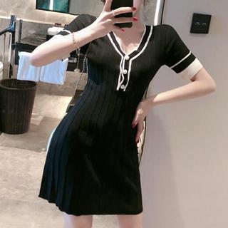 snidel - Vネックバイカラーデザインワンピース キャバ ドレス