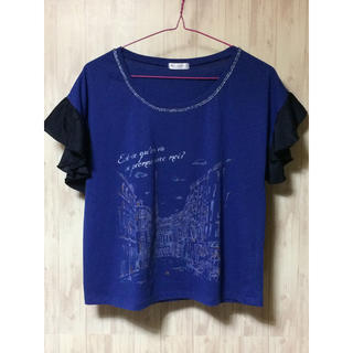アクシーズファム(axes femme)のフリル袖カットソー axes  femme 新品未使用 M 青黒 アクシーズ(Tシャツ(半袖/袖なし))
