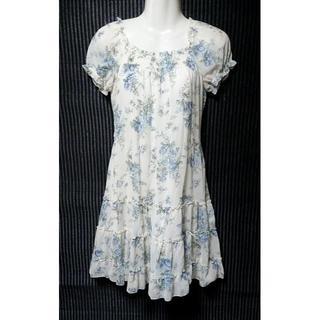 L'EST ROSE - 綺麗 レストローズ 花柄 シフォン ワンピース MT インナー付き リボン