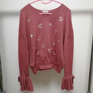 HONEYS - ピンクニット 袖リボン 花柄刺繍