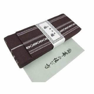 角帯献上柄 こげ茶 メンズ日本製綿100%結び方ガイド付き(浴衣帯)