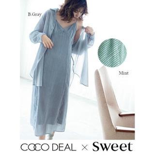 COCO DEAL - 1 新品タグ付き sweetコラボ シアーベロアストライプキャミワンピース