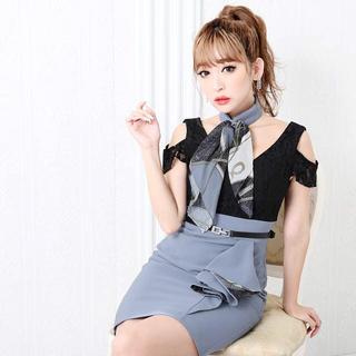dazzy store - スカーフ付きフリルバイカラータイトミニドレス