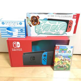 Nintendo Switch - 新品新型 ニンテンドースイッチ 本体 ネオン  ぶつ森+ランチbox+ポーチ