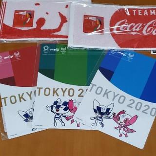 コカコーラ(コカ・コーラ)の明治 東京オリンピック2020 下敷き&コカ・コーラ オリンピックタオル セット(ノベルティグッズ)