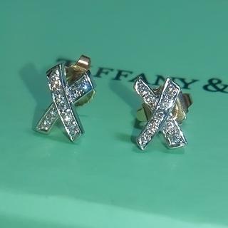 Tiffany & Co. - ティファニー キス ダイヤ ピアス k18 プラチナ ダイヤモンド コンビ