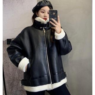 韓国 ファッション ムスタン フェイクレザー ジャケット ボアアウター