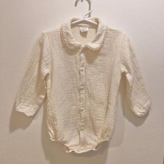 襟付きベビーロンパース 80サイズ  韓国子供服 ナチュラルカラー シワ加工