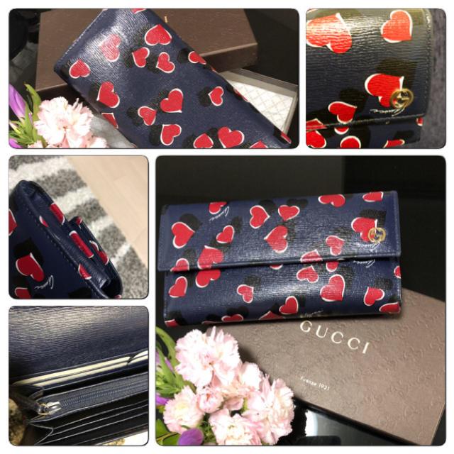 Gucci - 【中古品】GUCCI   ♡ハート柄♡長財布の通販