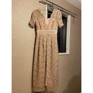 リリーブラウン(Lily Brown)のLily Brown レイヤード刺繍チュールワンピース ピンクページュ サイズ0(ロングドレス)