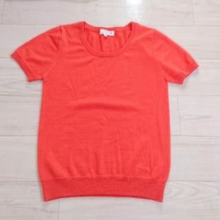 クミキョク(kumikyoku(組曲))の美品 KUMIKYOKU ウール混 オレンジ 半袖ニット(Tシャツ(半袖/袖なし))
