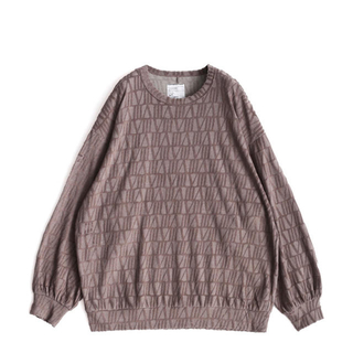 SHAREEF - VELOUR LOGO JQ L/S PULL OVER ベージュ