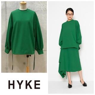 HYKE - hyke ハイク ジップロングスリーブプルオーバー トップス グリーン