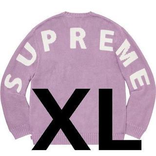 Supreme back logo sweater lilac XL