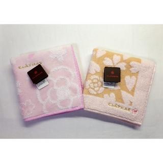 CLATHAS - 送料無料■CLATHAS/クレイサス■桜×ハート柄 タオルハンカチ■2枚セット