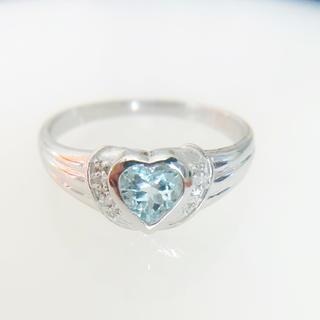 【新品】K18WG 大粒アクアマリンダイヤモンド ハートリング 3月誕生石(リング(指輪))