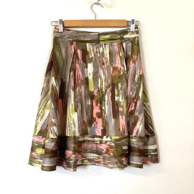 Calvin Klein(カルバンクライン)の美品 Calvin Klein 総柄 ボックスプリーツ スカート カーキ ピンク レディースのスカート(ひざ丈スカート)の商品写真