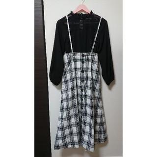 ディスコート(Discoat)のDiscoat チェックジャンパースカート ワンピース(ロングスカート)