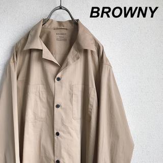 ブラウニー(BROWNY)のBROWNY ブラウニー ストレッチ シャツ 長袖 ベージュ(シャツ)