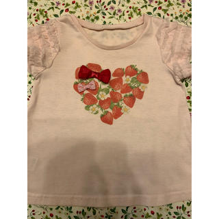 エニィファム(anyFAM)のエニィファム イチゴ チュール袖 Tシャツ 100cm(Tシャツ/カットソー)