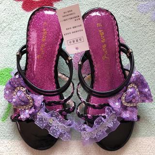 新品  18.0 サンダル パープル 18 女の子 紫 リボン 女児  お子様