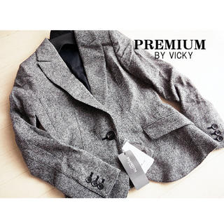 ビッキー(VICKY)の新品 サイズ0 プレミアムバイビッキー ウールジャケット グレー(テーラードジャケット)