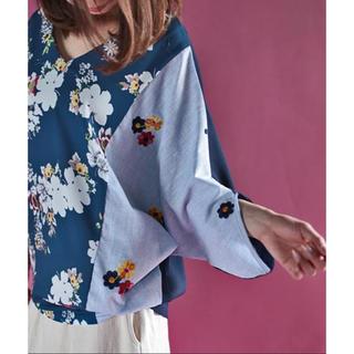 antiqua - アンティカ 花柄ドルマンシャツ