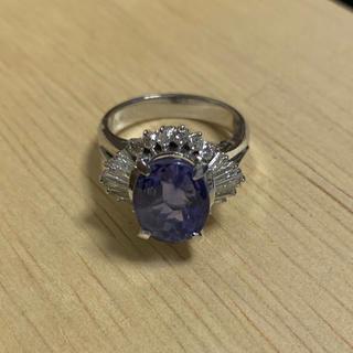 PT900 刻印あり リング プラチナ 指輪 メレダイヤ 青石 9.8g