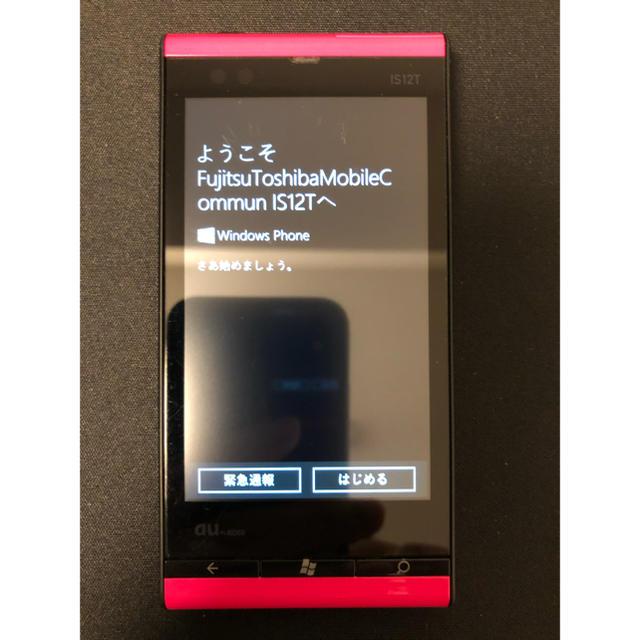 東芝(トウシバ)のWindows Phone IS12T au [マゼンタ] スマホ/家電/カメラのスマートフォン/携帯電話(スマートフォン本体)の商品写真