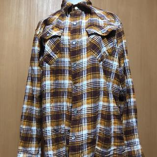 メンズ長袖シャツチェックシャツイエローL(シャツ)